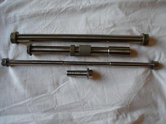 Honda VFR titanium and 7075 hard anodised spindle set