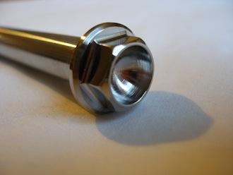Honda RS125 titanium swinging arm bolt head