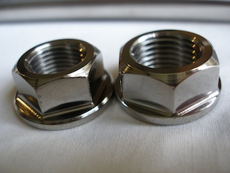 Titanium Montessa wheel spindle nuts