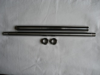 Ducati Monster titanium rear wheel axle with nuts and swinging arm spindle