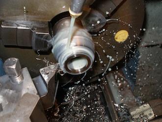 Cutting a taper on a titanium gear knob