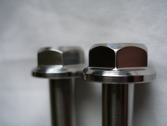 Titanium M8x70 flanged head bolts, 13mm A/F