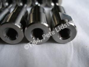 Grade 5 titanium posts, M8 tapping