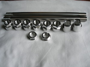Cheney MX titanium rear wheel spindles and 7075 alloy nuts