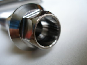 Honda RC30 titanium swinging arm pinch bolt head