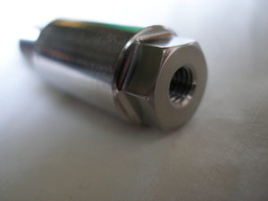 Titanium motorcycle sidestand bolt head tapping