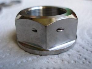 Titanium R1 drive sprocket nut, plain and simple