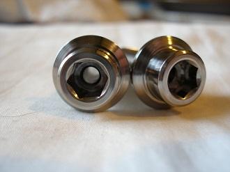 Yamaha R1 titanium sidestand bolts, filled with air for lightness!