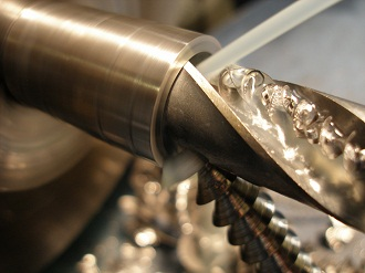 Boring titanium VFR front wheel spindle