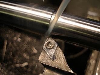 Turning titanium VFR front wheel spindle