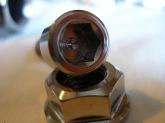 Buell titanium socket cap brake bolt head