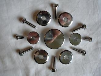Titanium bolts and alloy bushes
