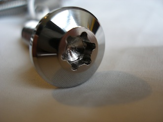Lotus titanium seat bolt head