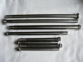 Honda trials titanium wheel axles and bolts