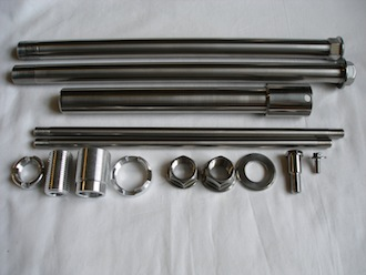 Honda Fireblade titanium axle set with 7075 alloy frame inserts