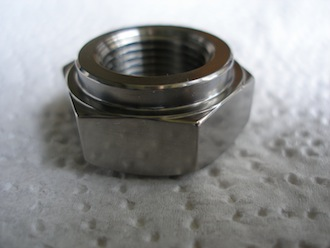 Titanium 5/8x20 tpi shouldered gearbox nut