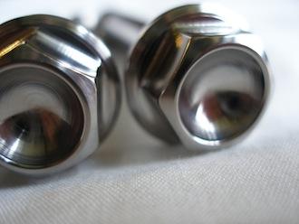 Titanium M10 suspension bolt heads