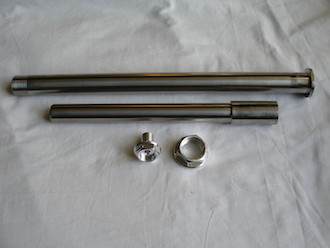 Honda SP2 titanium wheel spindles with 7075 alloy nut and bolt