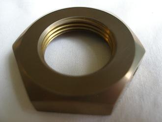 R1 gold anodised titanium gearbox sprocket nut