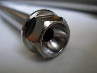 Yamaha RD350 titanium rear wheel spindle head
