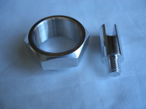 Ducati 7075 alloy steering stem top nut and titanium drive link