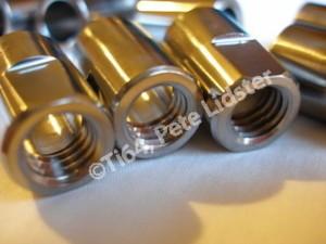 Titanium hillclimb car wheel hub nuts thread