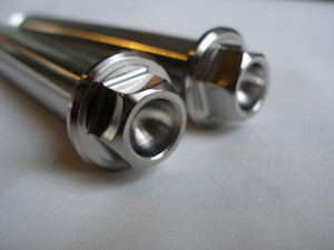 Titanium flanged hex head suspension bolt heads