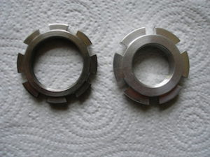 Titanium and 7075 alloy steering head nuts