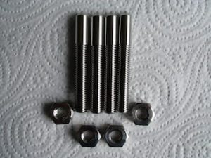 Titanium adjustable acoustic isolation shafts and nuts, M8.