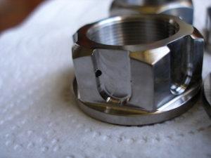 Titanium R1 drive sprocket nut, lockwire hole