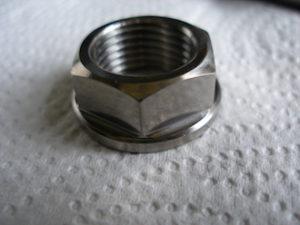 Montessa/Honda titanium rear wheel spindle nut, 17x1.5