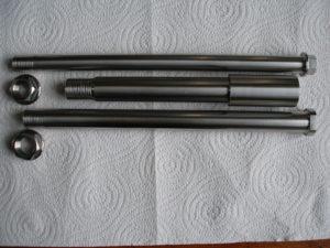 Montessa/Honda titanium wheel spindles.