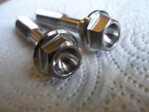 Honda titanium crank end bolt heads scooped out