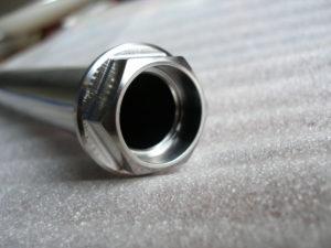 Titanium Suzuki GSXR rear wheel spindle head